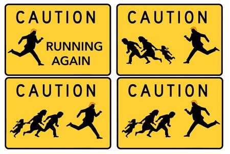 The well known highway signs warning of migrant pedestrians crossing the road in the southwest is changed in this tongue in cheek image with Trump appearing in various situations. Фото со стока - 132657584