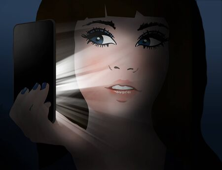 A teen girl looks at her cell phone that is emitting the light that illuminates her face. This is an illustration.