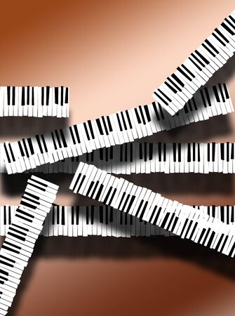 Piano keyboards are arranged in an interesting way in this image. This is an illustration. Фото со стока - 132552401