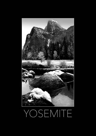 Here is Yosemite in winter in a poster format. Фото со стока - 132552402