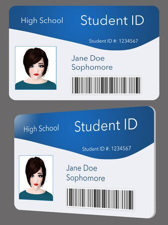 Here is a mock student ID card.