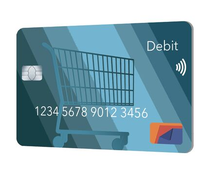 A mock generic debit bank card for making retail purchases has a shopping cart design decorating the front of the blue card. Фото со стока - 132552404