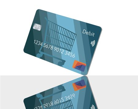 A mock generic debit bank card for making retail purchases has a shopping cart design decorating the front of the blue card. Фото со стока - 132552406