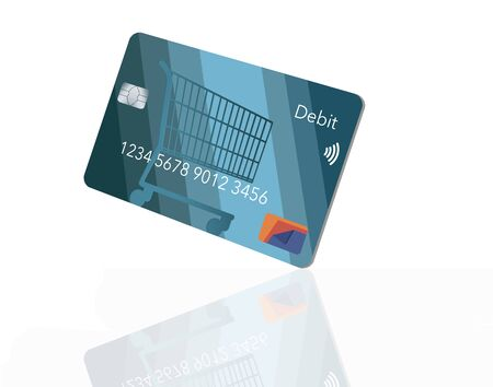 A mock generic debit bank card for making retail purchases has a shopping cart design decorating the front of the blue card. Фото со стока - 132552407