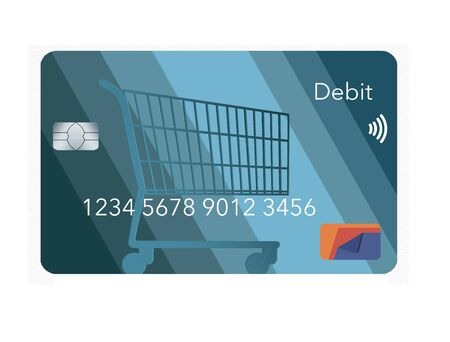 A mock generic debit bank card for making retail purchases has a shopping cart design decorating the front of the blue card.