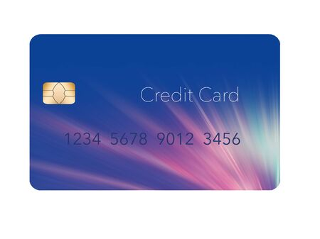 A blue, mock generic credit card with a design somewhat like fireworks is seen in this illustration. Фото со стока - 132552409