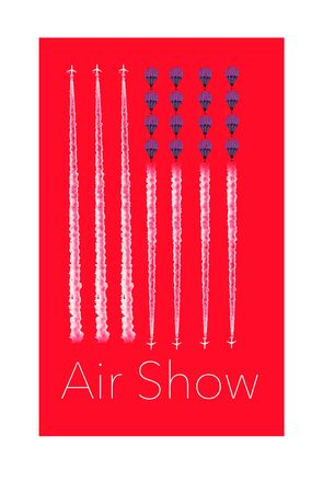 Here is an air show poster with jet vapor lines and hot air balloons in the shape of a USA flag. Фото со стока - 132552416