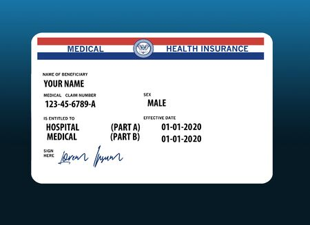 Here is a mock, generic, 2020 Medicare Health Insurance card. It does not use the word Medicare on the card but resembles a real Medicare card. Mock signature spells: Lorem Ipsum Фото со стока - 132552417