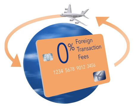 A credit card that offers no fees for foreign transaction fees while traveling is seen with the earth globe as a background, arrows circling the earth and an airliner. Isolated on white. 版權商用圖片