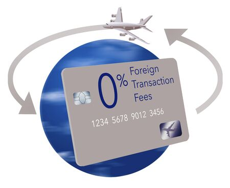 A credit card that offers no fees for foreign transaction fees while traveling is seen with the earth globe as a background, arrows circling the earth and an airliner. Isolated on white. Stock fotó