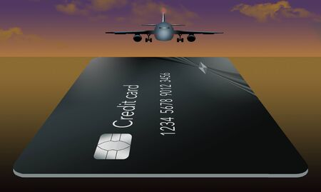An airliner is landing on a runway that is also a credit card that is useful for travel and vacation expenses. This is an illustration.