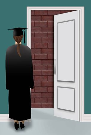 A graduate in cap and gown finds a brick wall when looking through a door opening at a job interview. 版權商用圖片