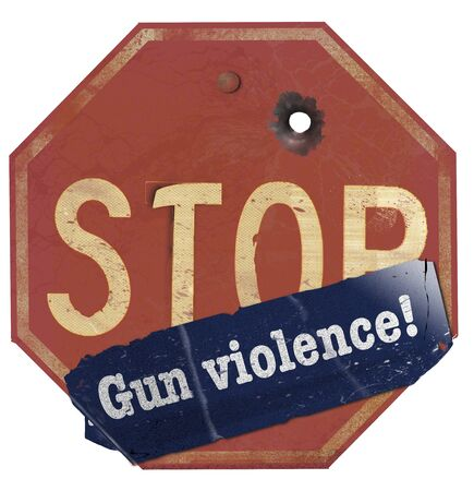 """An old stop sign with a bullet hole has a bumper sticker that reads: """"Gun violence"""" to make the message: Stop gun violence. It is an illustration. Stock fotó"""