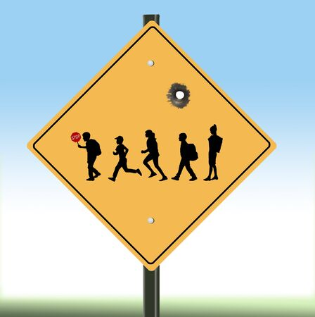 A school crosswalk sign is seen in this illustration with a bullet hole to speak to the issue of keeping children safe in schools and safe from gun violence.