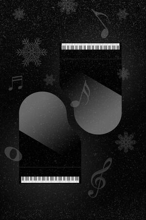 Christmas holiday concert or holiday music is the theme of this illustration that show two grand pianos, snow falling, snowflakes and musical notes.