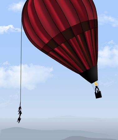 People harnessed to a rope weight down the flight of a man in a hot air balloon in this illustration about carrying dead weight. Фото со стока - 132557898