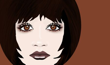 Here is a young girls face and she is a brunette with brown eyes. There is an area for text adjacent to the face image. It is an illustration.
