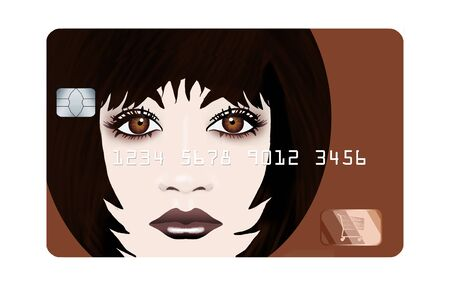 A brunette female with brown eyes decorates a credit care to illustrate the theme of young, or student, credit card holders. This is an illustration isolated on white.
