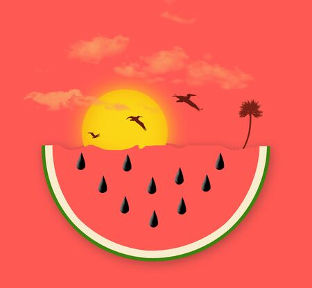 A watermelon slice with seeds is seen in a tropical beach setting with a palm tree, pelicans, sunset and clouds.