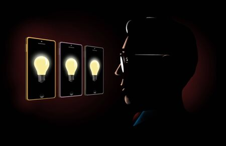 A man looks to the screens of three cellular phones for ideas for a project, the ideas are represented with lightbulbs glowing on the phone screens.