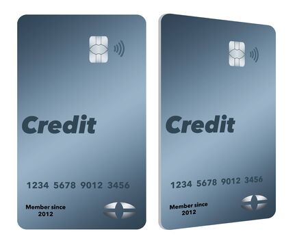 This is a pair of generic mock credit cards that are in the modern vertical format. Isolated on a white background.