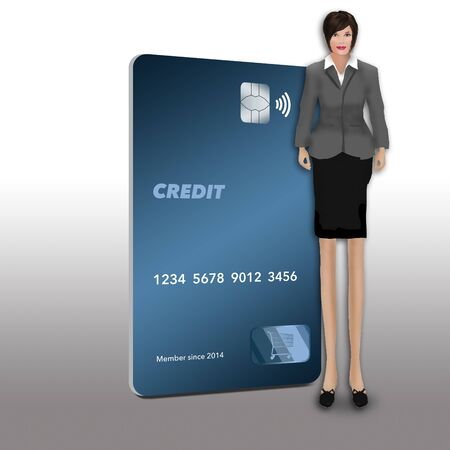 This a generic mock credit card that is in the modern vertical format. Isolated on a white background. An enlongated female figure stands next to the card. 版權商用圖片