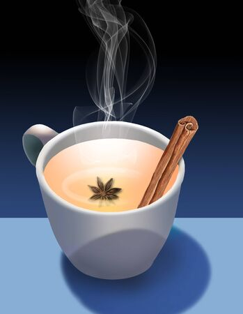 A cup of hot spiced cider with star anise and a cinnamon stick is seen with steam rising above the cup. A white cup is on a blue background. 版權商用圖片