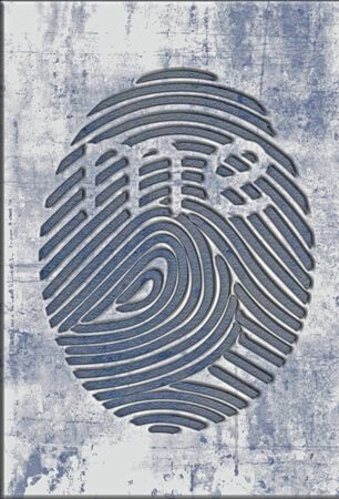 "A fingerprint has the word ""me"" visible in this illustration about fingerprint ID technology or criminal investigations."