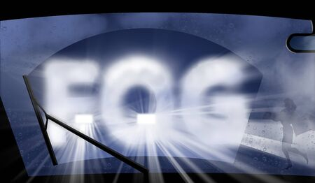 Fog, dangerous fog confronts an automobile driver. Glare from an approaching car, a pedestrian hidden in the fog and other hazards are seen with the word fog across the windshield.