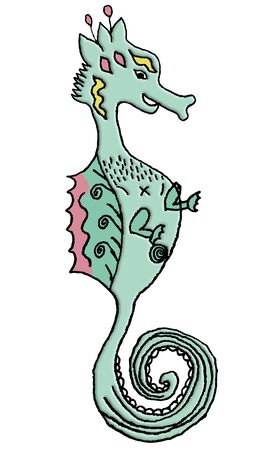 A cartoon seahorse drawn in a child like fashion is seen isolated on a white background.