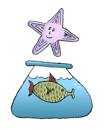 A green fish in a bowl of blue water is seen with a purple starfish hovering above in this childish cartoon illustration isoated on a white background.