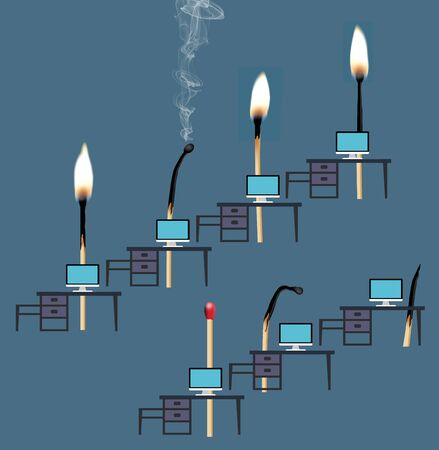 The idea of having job burnout is illustrated with matches. Some are flaming and working at desks while others smolder and die. A one, an intern, is unlit and ready to get started. 版權商用圖片