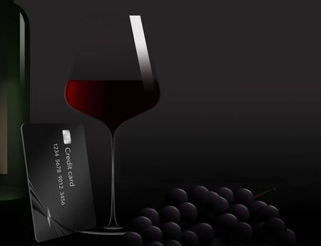 A glass of red wine, a bottle and some grapes share the spotlight with a black credit card in this illustration. A text area is available on the dark grey background.