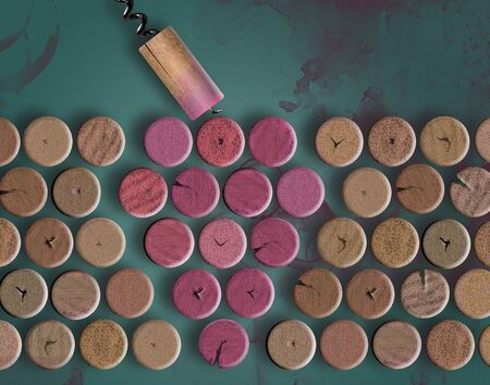 Used wine bottle corks, stained red by wine, are arranged to look like a bunch of grapes in this illustration.