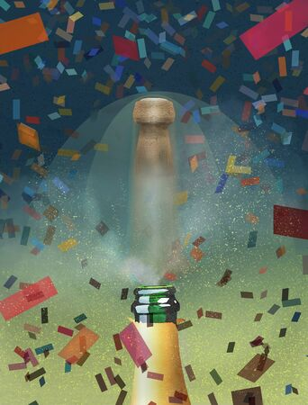 A champagne cork pops out of a bottle as colorful confetti falls all around. It is a celebration or New Year theme. 版權商用圖片