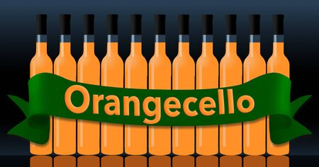 Orangecello in bottles is seen with a green banner spelling out the name of the beverage.