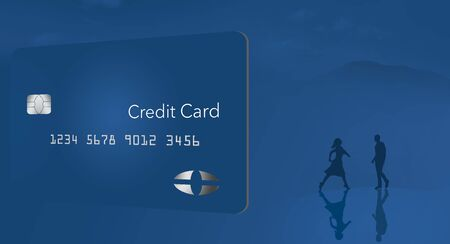 A blue credit card is seen on a blue background with mountains, people and water.