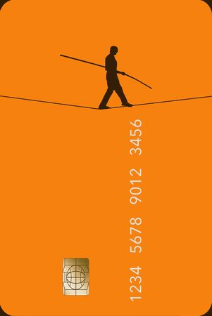 A tightrope walker carefully moves across a generic credit card to illustrate the idea of being careful to select the best card. 版權商用圖片