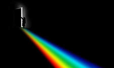 A girl opens a door in a dark room to see what is outside and a rainbow of color shines through the door opening into the room. Theme: Discovery, exploration, new ideas, etc. 版權商用圖片