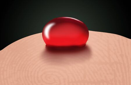 A drop of blood is seen on a finger tip in this illustration about diabetic testing.
