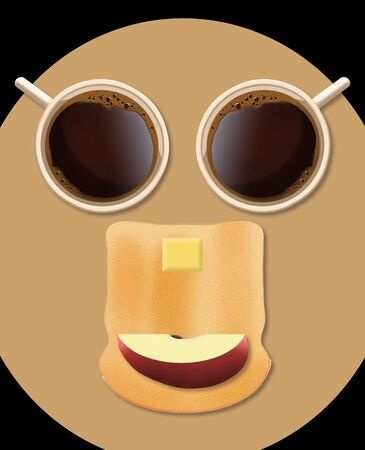 A face can be seen with a little imagination when looking at this image of a breakfast of coffee, toast with butter and a slice of apple. 版權商用圖片