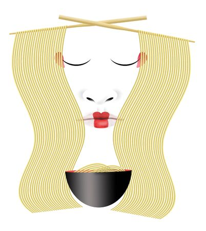 Japanese ramen noodles are seen with chopsticks, a bowl and a Geisha face.