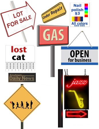 Graphic elements are shown here with a variety of signs. Stockfoto