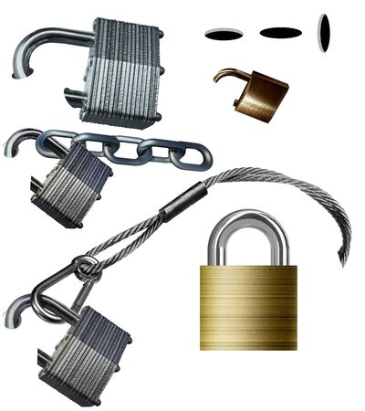 Padlocks, chain, cable and holes are graphic elements about locks.