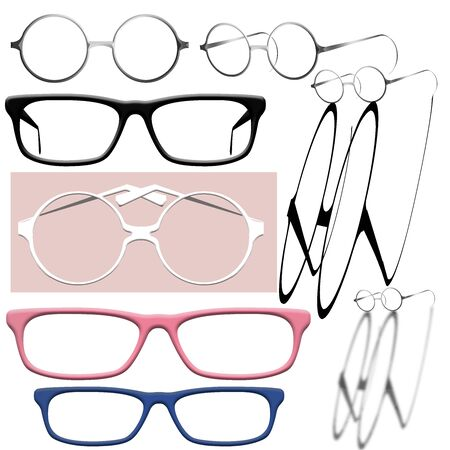 Eye glasses of various shapes and some with shadows are seen in this page of graphic design elements. Images are isolated on the background.