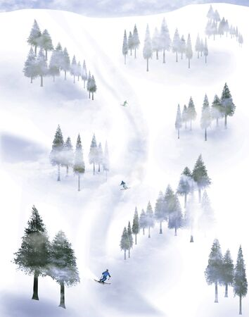Skiiers are seen descending a mountain, swerving between groups of trees in the fog. This is an illustration. Stockfoto