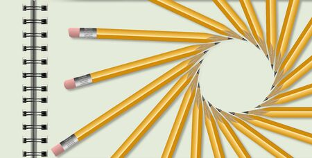 Yellow pencils are arranged in a spiral isolated on a white background. This is an illustration about tax preparation, school work and pencils. Stockfoto