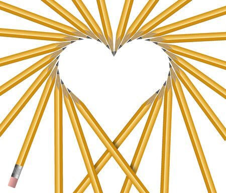 Pencils are arranged to make a heart shape in an illustration about love notes, love letters, etc.  Image is isolated on a white background. 版權商用圖片