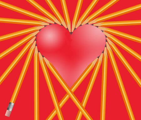 Pencils are arranged to make a heart shape in an illustration about love notes, love letters, Valentines Day, etc.