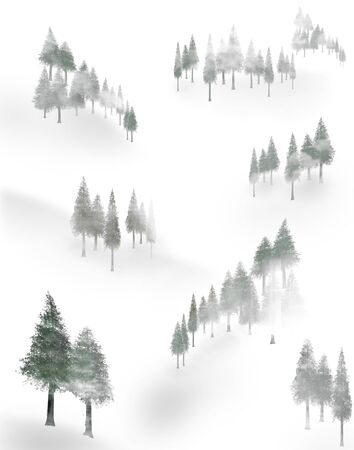 Trees mingle with fog on a snow covered mountain side in this illustration.